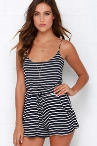 Lucy Love Riley Ivory and Navy Blue Striped Romper at Lulus.com!