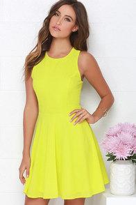 Dee Elle At Ease Chartreuse Skater Dress at Lulus.com!
