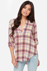 V-sionary Grey and Neon Coral Plaid Top at Lulus.com!