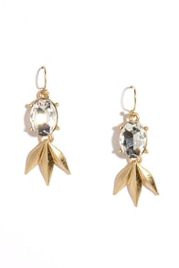 Leaf an Impression Gold Rhinestone Earrings at Lulus.com!