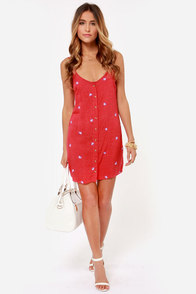 Obey Alanis Red Print Shift Dress at Lulus.com!