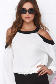 Dee Elle Cute Cut Black and Ivory Long Sleeve Top at Lulus.com!