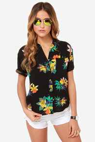 Obey Fast Times Black Floral Print Top