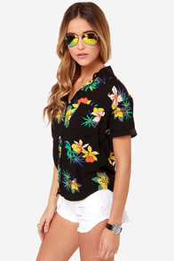 Obey Fast Times Black Floral Print Top at Lulus.com!