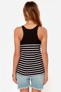 Obey Bennett Recycled Black Striped Tank Top at Lulus.com!