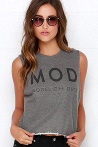 Laundry Room Mod Grey Muscle Tee at Lulus.com!