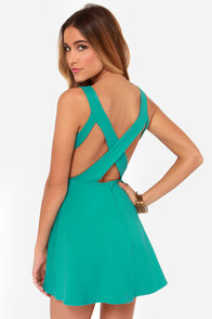 Flirt Alert Teal Dress at Lulus.com!