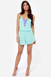 Crowd-Pleaser Sky Blue Romper at Lulus.com!