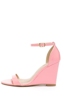 Promise Hazell Pink Patent Single Strap Wedges at Lulus.com!
