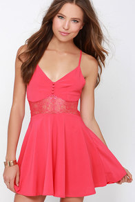 From Sheer to There Coral Pink Lace Dress at Lulus.com!