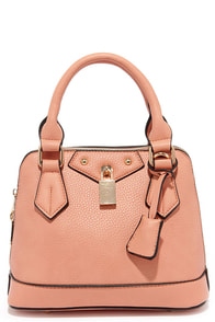 Slight Attendant Peach Mini Handbag at Lulus.com!