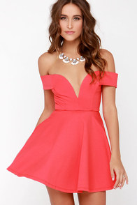 Sensational Anthem Off-the-Shoulder Coral Dress at Lulus.com!