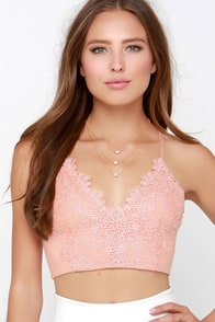 Can't Hurry Love Peach Lace Crop Top at Lulus.com!