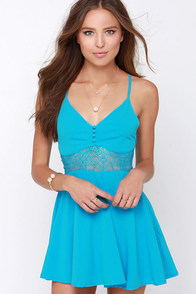 From Sheer to There Blue Lace Dress at Lulus.com!