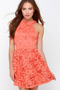 In Full Plume Coral Orange Lace Dress