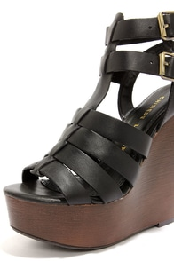Chinese Laundry Jump Drive Black Wedge Sandals at Lulus.com!