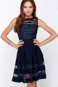 Luxury Emporium Navy Blue Midi Dress at Lulus.com!