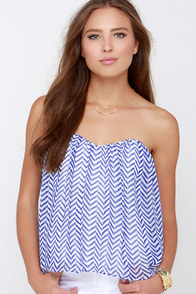 From Sun Up Ivory and Blue Print Strapless Top at Lulus.com!