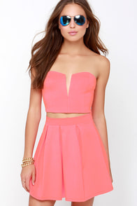 Working It Neon Coral Strapless Two-Piece Dress at Lulus.com!