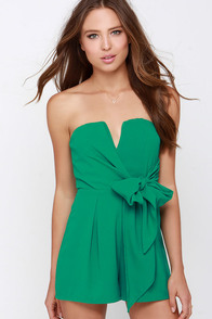 Tie it all Together Green Romper at Lulus.com!