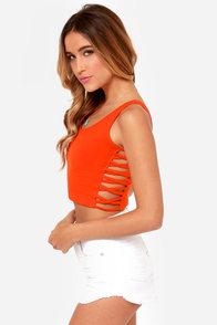 Obey Wild Child Red Orange Crop Top at Lulus.com!