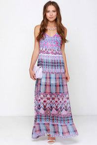 O'Neill Cloud Burst Blue and Purple Print Maxi Dress at Lulus.com!