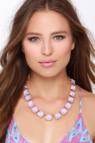 Royal Following Lavender Rhinestone Statement Necklace at Lulus.com!