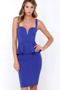Pep-lum Talk Indigo Midi Dress at Lulus.com!
