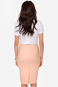 Midi Madness Peach Midi Skirt at Lulus.com!