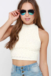 Always on the Run Cream Turtleneck Crop Top at Lulus.com!