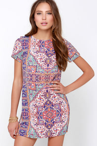 Cave of Wonders Blue and Orange Print Shift Dress at Lulus.com!