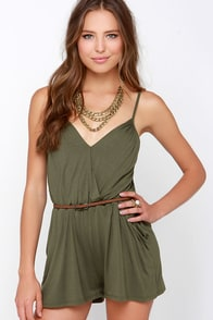 Stellar Style Olive Green Romper at Lulus.com!