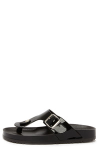 Loved and Glossed Black Jelly Thong Sandals at Lulus.com!