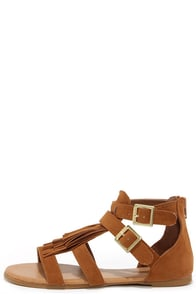 Record Shop Chestnut Suede Fringe Sandals at Lulus.com!