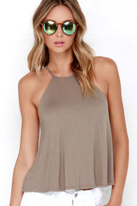 Brave Silence Taupe Top at Lulus.com!