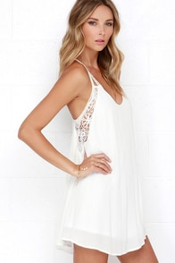 Spirited Ivory Lace Dress at Lulus.com!