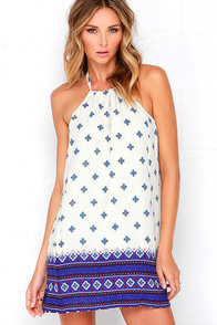 image Dee Elle Aegean Islands Blue and Ivory Print Dress