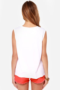 Lovers + Friends Flamingo Heart White Muscle Tee at Lulus.com!