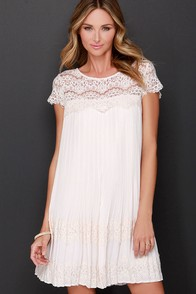 Darling Demi Beige Lace Shift Dress at Lulus.com!