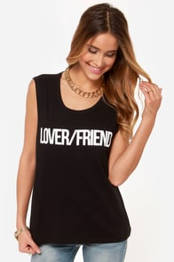 Lovers + Friends Lover Friend Black Muscle Tee at Lulus.com!