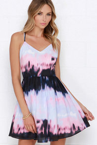 BB Dakota Zuzu Pink and Periwinkle Print Dress at Lulus.com!