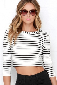 Jack by BB Dakota Corsbie Black and Ivory Striped Crop Top at Lulus.com!