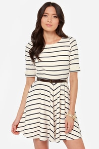 Others Follow Charlotte Navy and Cream Striped Dress