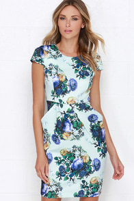 Darling Gabrielle Light Blue Floral Print Dress at Lulus.com!