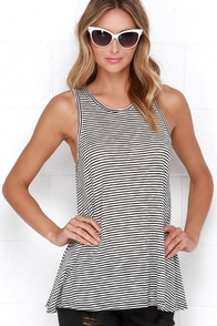 Mason Black and Ivory Striped Tank Top at Lulus.com!