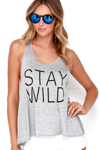Stay Wild Heather Grey Tank Top at Lulus.com!