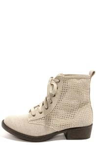 Rocket Dog Tave Beige Heavy Washed Canvas Boots at Lulus.com!