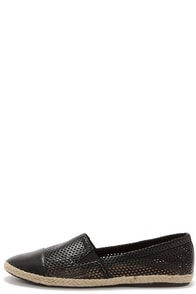 Madden Girl Portia Black Perforated Espadrille Flats at Lulus.com!