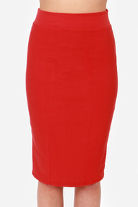 Midi Madness Red Midi Skirt at Lulus.com!
