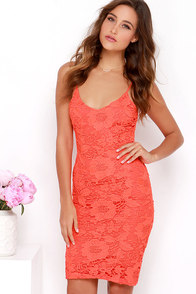 Bursting Bouquet Coral Red Lace Midi Dress at Lulus.com!